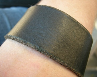 Mens Black Leather Cuff Distressed  Tough Bracelet with Snap BLK-56-1