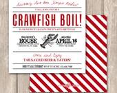 Cajun Crawfish Boil Invitations--Unique Crawfish Boil, clambake or low country boil invitations