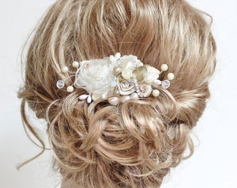 Champagne & Ivory Bridal Hair Comb- Wedding Hair Piece- Vintage Hair Accessories- Statement Bridal hairpiece-Champagne clip- Floral Haircomb