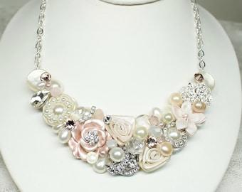 Blush Bridal Bib Necklace- Blush Statement Necklace- Bridesmaid bib- Champagne Pink Necklace- Rhinestone and Pearl Bib Necklace- Wedding bib