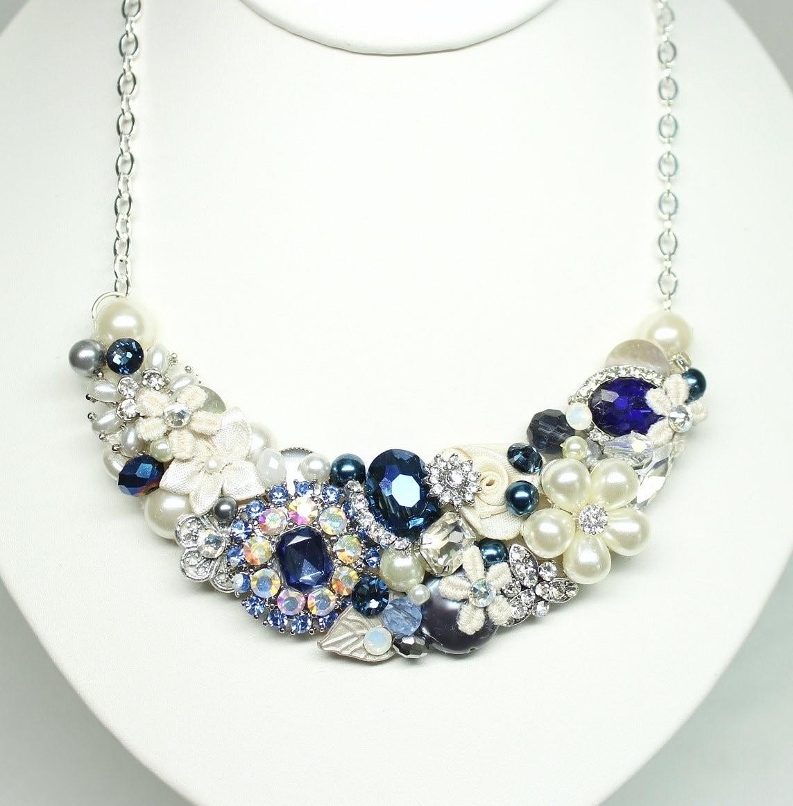 navy statement necklace sapphire blue necklace blue bridal