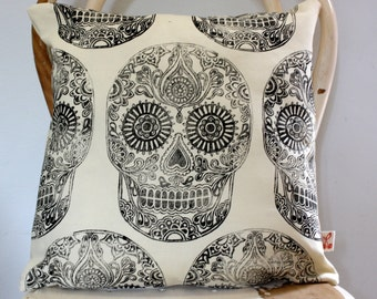 Sugar Skull Halloween Hand block printed scatter decorative cushion cover