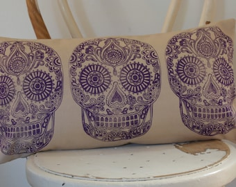 Violet Dia De Muertos Sugar Skull hand block printed Lumbar decorative scatter cushion cover on white