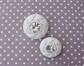 2 Pretty Jeweled 1950's Hard Plastic Buttons