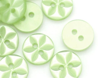 20 Light Green Carved Flower Sewing Buttons, flat back, 2 holes, size 11mm round buttons, with gift wrap - CLEARANCE SALE