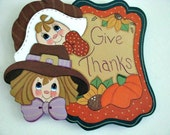 Thanksgiving, Give Thanks Banner, Pilgrims, Pumpkin, Sunflower, wall decor, banner