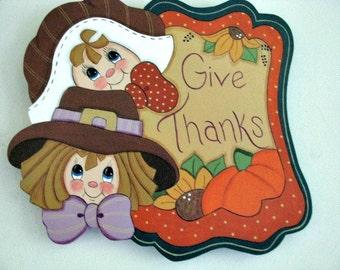 Thanksgiving, Give Thanks Banner, Pilgrims, Pumpkin, Sunflower