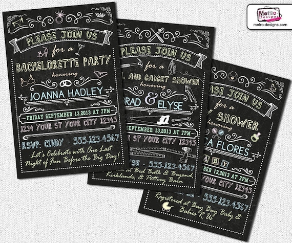 Chalkboard Invitations Bachelorette Invitations Tools And Gadget