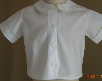 Boys White Short Sleeve Shirt with colored  or white piping