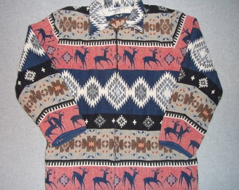 Native American Indian Aztec Deer Jacket Zip Up Renegade Tacky Gaudy Ugly Christmas Sweater Party X-Mas Holiday Winter Warm XL Extra Large