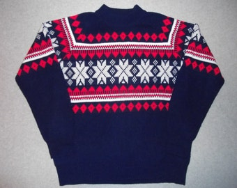 Vintage 60s 70s Nordic Ski Sweater Winter Warm Long Sleeve Ski Skiing Snowflakes Snow Tacky Gaudy Ugly Christmas Party X-Mas L Large 42/44