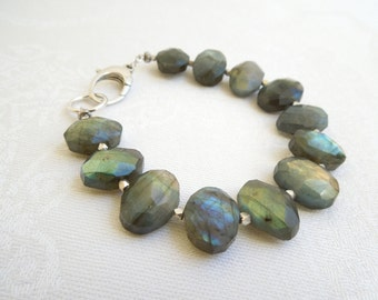 Statement Bracelet: Faceted Labradorite and Thai Hill Tribe Silver