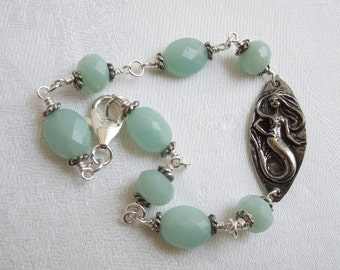The Sea Queen's Bracelet: Blue Green Amazonite- Sterling Silver- Pewter Mermaid Bracelet