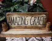 Candle Holder with Amazing Grace Sign, Religious Candle Sconces, Primitive Wood Candle Holders