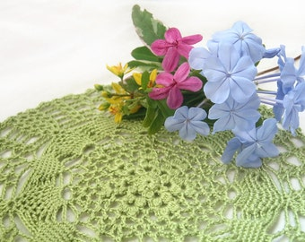 """Lime Green Lace Doily - Spring Meadows, 6.75"""", Egyptian Cotton - Crochet Modern Bright Holiday Spring Home Decor Hostess Gift"""