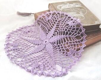 """Lavender Starshine Doily - Handmade Crochet, 8.5"""", Cotton Lace - Violet Orchid Purple Pastel Decor Cottage Romantic Flower Gift"""