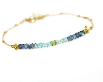 Bar Bracelet. Ombre Sapphire, Apatite and Peridot Bracelet. Gold Fill or Sterling Silver. September Birthstone.