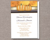 Pumpkins Autumn Wedding invitations - PRINTABLE or PRINTED - Pumpkins with Gold and Orange Mums