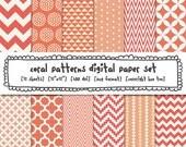 coral digital paper, peach pink orange patterns, peach coral orange modern photography backgrounds, chevron quatrefoil, instant download 399