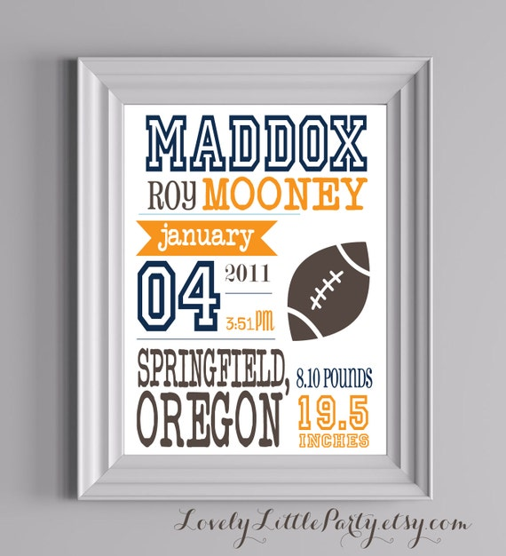 "Customized Football Theme Nursery Print - 8""x10"" - LOVELY LITTLE PARTY"