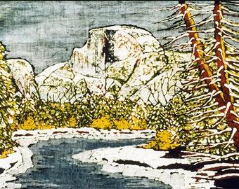Half Dome Yosemite MAGNET Batik Watercolor Hiking Climbing Yosemite Lover