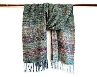 Handwoven  Multicolour  Silk Scarf /  Wrap,Unique scarf,Teal, Turquoise,Pink, Magenta