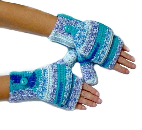 Convertible Fingerless Mittens, Blue Variegated Texting Mittens, Crochet Fingerless Gloves, Women's Mittens