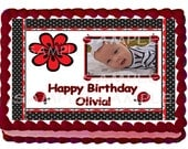 Lady Bug Add a Photo Cake Topper - 1/4 sheet Custom Design