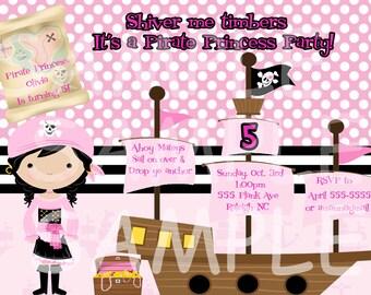 Pirate Princess  Birthday Invitation