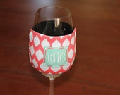 Wine Glass Insulator - Coffee Wrap - Personalized Monogrammed - Many Colors and Designs Available