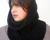 Black  Hourglass Cowl Super Soft Mixed Cashmere  Neckwarmer Unisex Double Face Reversible Big Chunky Cowl