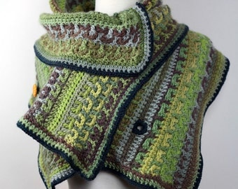 Caterpillar - Super Soft Shoulder Wrap in Handmade Crochet Merino with Handmade Fabric Buttons, size Small