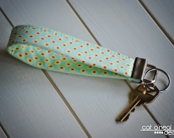 Key Fob - Key Chain - Fobskey - Fabric Key Fob - Amy Butler's Duck Egg/Seeds