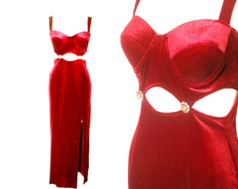 1980s Red Velvet Body Con Maxi Small