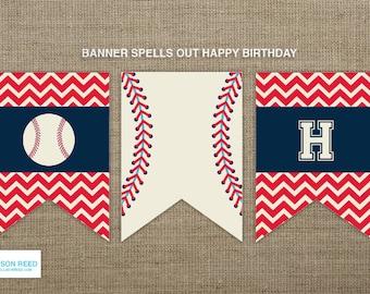 Baseball Birthday Banner - Baseball Printable - Baseball Birthday -  Sports Birthday - Printable Party - Chevron printable - First Birthday