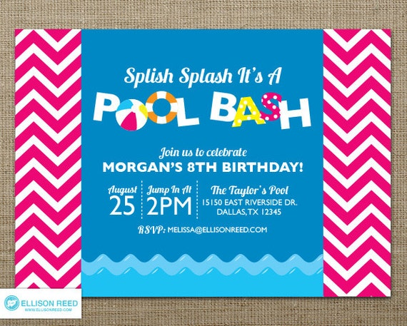 Chevron Pool Party Invitation Swim Party Invitation – Pool Party Invitations