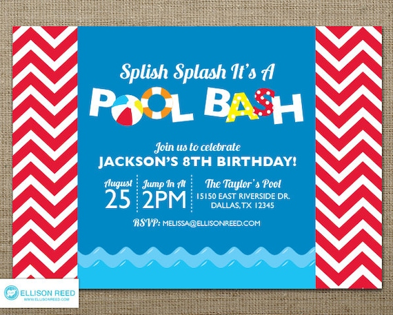 Pool Party Invitation Pool Party Printable Water party