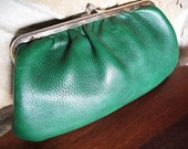 Green Leather Clutch, Grain Cowhide, Gold Toned Clasp, Chain Handle, Dark Green, Hunter