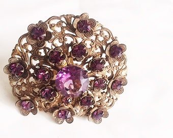 Early Miriam Haskell Fur Clip, Brass Filigree Amethyst Rhinestone Clip, Unsigned Haskell