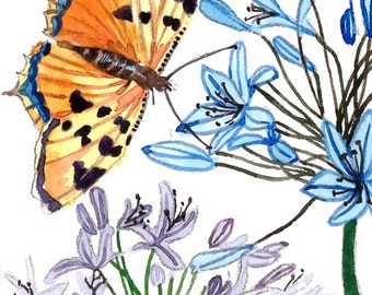 ACEO Limited Edition 2/25-Butterfly in her garden, Art print of an original watercolor painting, Housewarming gift idea, Artist trading card