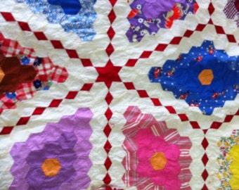 Vintage Quilt Squares / Vintage Quilt Top / Vintage Quilt To Complete/ Red Quilt Top / Old Quilt Squares / Feedsack Quilt Pieces