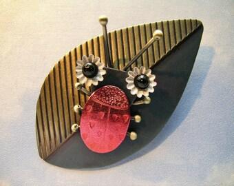 Ladybug Leaf Pin