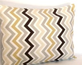 Lumbar Throw Pillow Cover - Tan Grey Brown Chevron - 12x16, 12x18 or 14x20 inch Travel Neck Cushion Cover, More Sizes Available