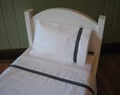 "American Girl /18"" Doll Bedding - 3 Piece Linen/Sheet Set - Sheet, Pillow, Pillowcase - Black Polka Dot"