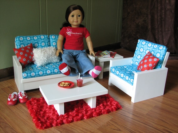 Items Similar To 18 Doll Furniture American Girl Sized Living Room Loveseat Chair Coffee