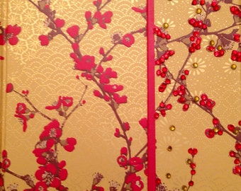 Japanese Cherry Blossom Journal with Swarovski Bedazzles