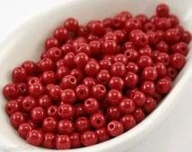 Small Red Glass Beads 4mm Czech Pressed Round Druk Opaque Dark Red (100) Poppy
