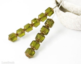 Olive Green Bronze Fire Polished Beads 6mm Faceted (35) Czech Polish Round Cathedral Acorn Glass last