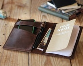 Moleskine cover. Agenda leather cover. Pocket moleskine leather case. Dark brown leather organizer. Travel journal cover. Travel accessories