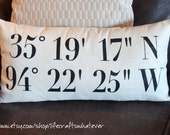 Black text coordinates decorative pillow 12x22 with insert